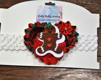 Gingerbread Christmas Headband for baby girls, toddlers, girls, red and green headbead,  red poinsettia headband