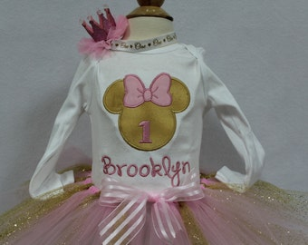Girls first birthday,pink and gold bodysuit, personalized, girls1st birthday outfit, custom, Minnie Mouse inspired birthday, birthday crown