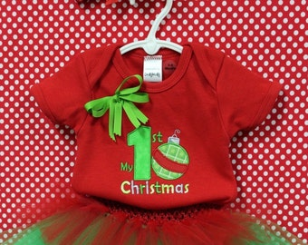 Baby first Christmas, Red, Green, Christmas, bodysuit, baby tutu, baby headband, personalized, baby girl clothes, baby shower gift, newborn