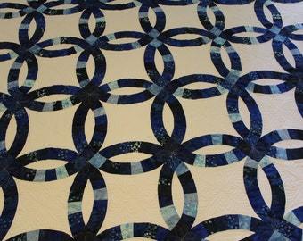 Indigo Blue, Double Wedding Ring quilt, blue quilt, Wedding gift, Anniversary gift, King size, handmade, custom, personalized quilt, Indigo