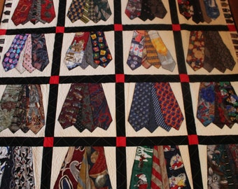 Neck tie quilt, Memory quilt, quilt, quilts, recycled clothing quilt, remembrance, king, queen, full, twin, throw, quilt from men's ties