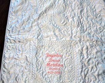 Baby quilt, Baptism quilt, baptism blanket, satin, white baby blanket, white, personalized baby quilt, christening, dedication, blessing