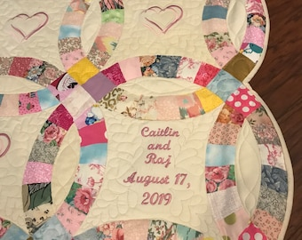 picture about Free Printable Double Wedding Ring Quilt Pattern referred to as Marriage ceremony quilt Etsy