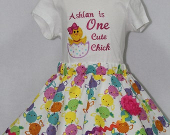 Easter dress, Easter outfit, Girls Easter outfit, Girl Easter shirt, Personalized, Easter shirt, tshirt, t shirt, t-shirt, Baby chick, skirt