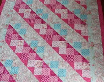 Baby quilt, baby girl quilt, quilt, pink, aqua blue, baby blanket, baby shower gift, new baby gift, baby girl gift, crib , patchwork, floral