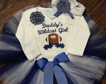 Kentucky, wildcats,  baby shower gift, new baby gift, baby girl gift, bodysuit, baby tutu, blue, white, football, custom, handmade