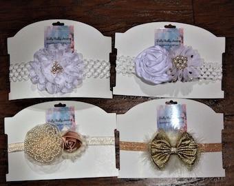White, gold, baby headbands, baby headband, girls headbands, flower girl headband, baby shower gift, baby girl gift, wedding, Christmas