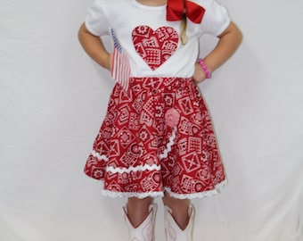 Girl clothes, red, heart, t shirt, tshirt, t-shirt, personalized, skirt, twirl skirt, country girl, red bandana, 4th of July, fourth of July