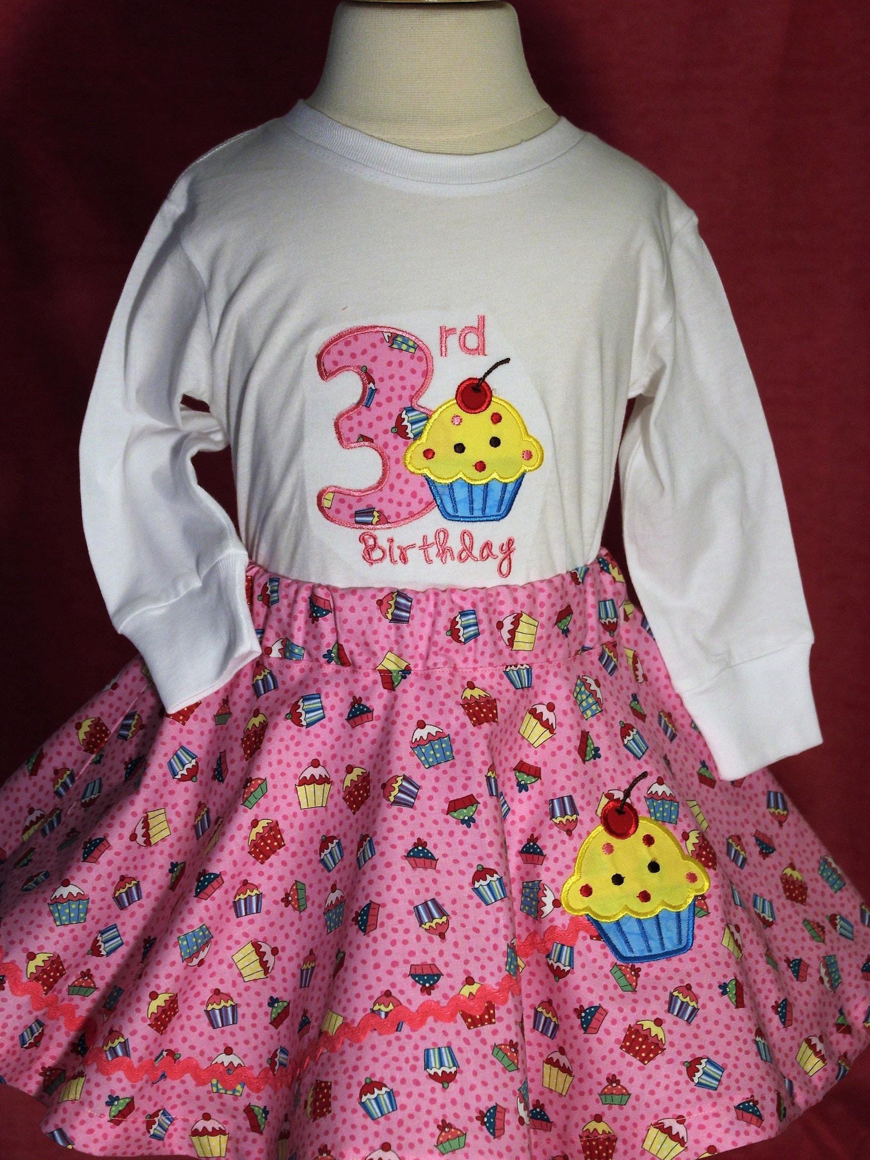 Girls 3rd Birthday Girl Third Cupcake Shirt Pink Skirt