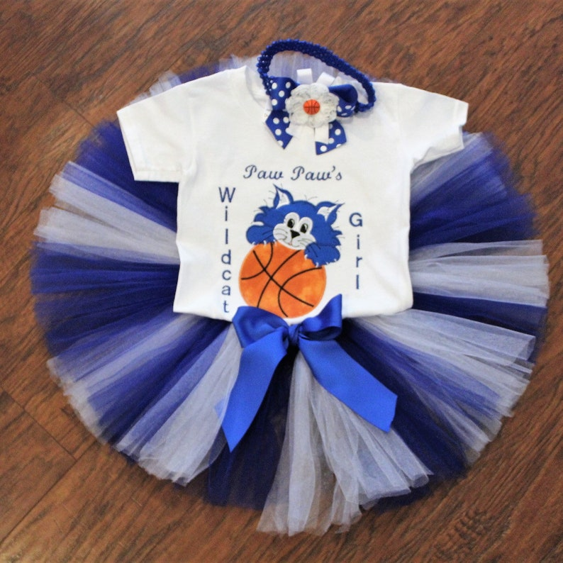 Paw Paw Wildcat outfit blue and white tutu basketball bodysuit mommy/'s Daddy/'s baby shower gift Kentucky Wildcats baby girl outfit