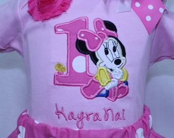 Minnie Mouse, birthday, custom, handmade, personalized, baby girl, baby girl clothes, 1st birthday outfit, Minnie Mouse ears, first birthday
