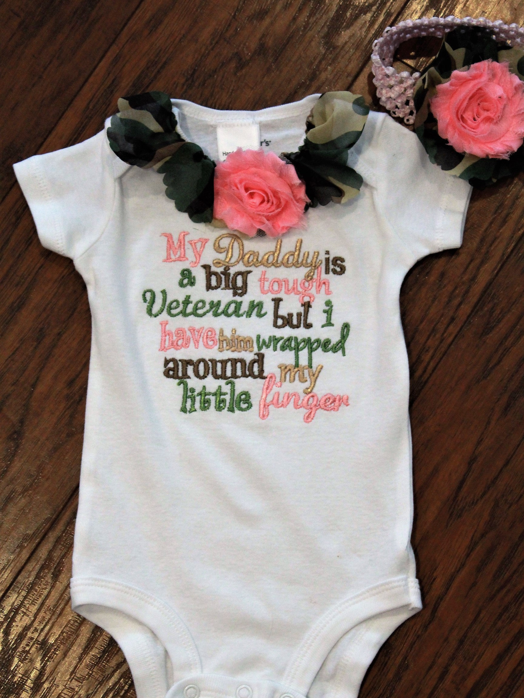 Veterans Day Baby Girl Clothes Army Bodysuit Camo Daddy Baby