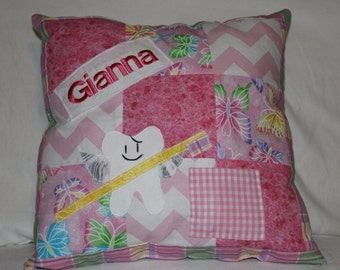 Tooth fairy pillow, girl, girls, custom, personalized, handmade, patchwork, pillow, tooth fairy, pink, purple