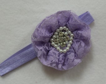 Lavender baby girl stretch headband, Shabby chic designer headband, Cottage chic lilac headband, New baby lavender headband, Baby Photo Prop