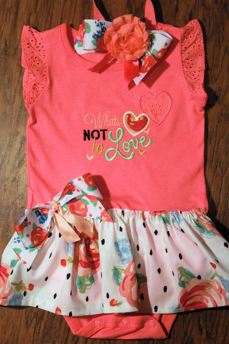 01f8827e8 Valentines Day baby girl dress coral and pink bodysuit | Etsy