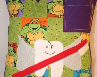 Teenage Mutant, Ninja Turtles, tooth fairy pillow, tooth fairy, throw pillow, bed pillow, boy tooth fairy, pillow, boy pillow, pocket pillow