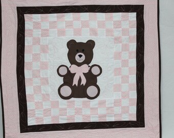 Baby Blanket for girl, Baby girl blanket, Quilt for baby, Teddy Bear quilt for baby, Pink baby quilt, Handmade baby quilt, Baby boy quilt