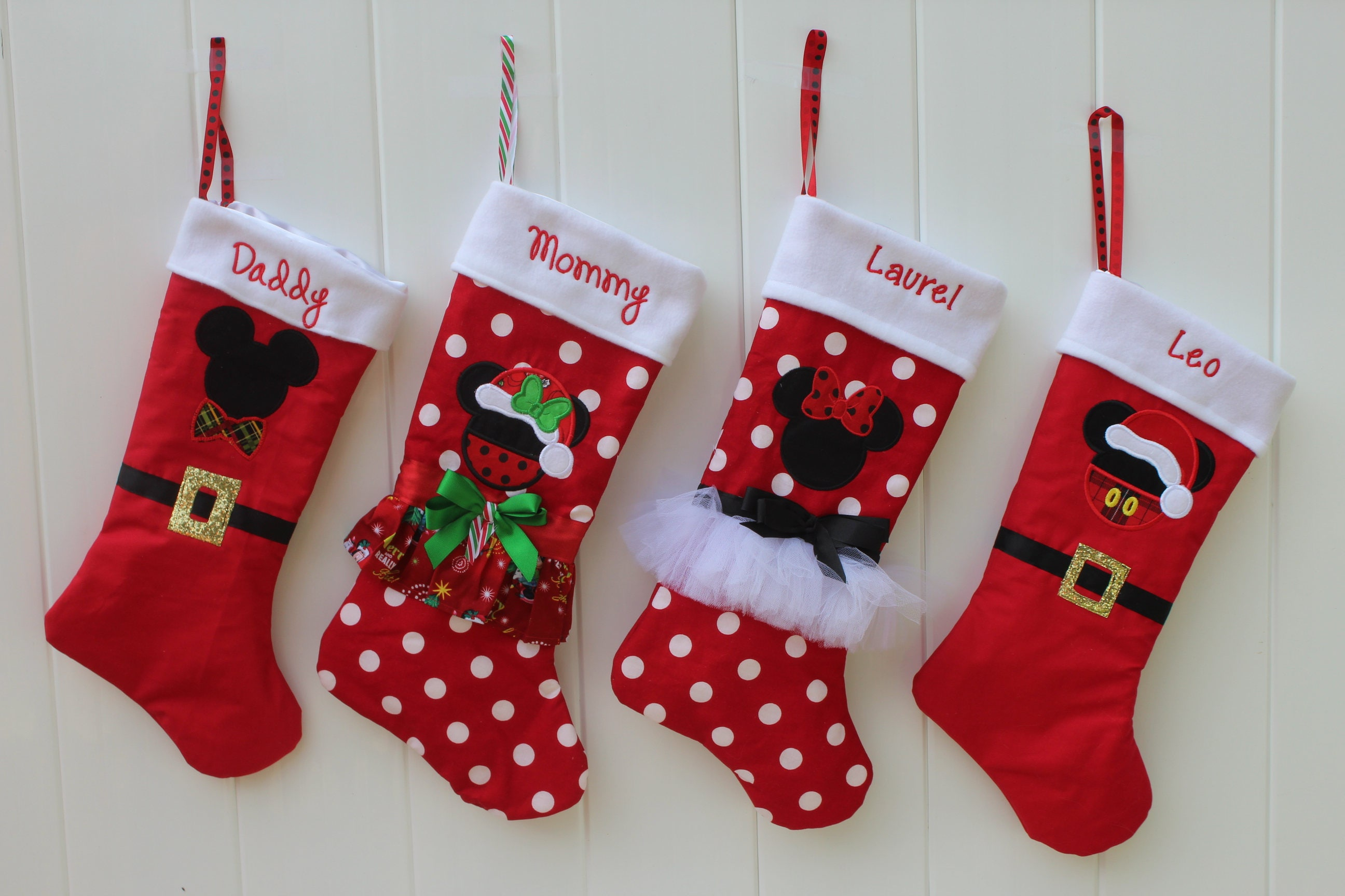 christmas christmas stocking christmas stockings mickey mouse inspired minnie mouse inspired personalized holiday decor red white - Mickey Mouse Christmas Stocking
