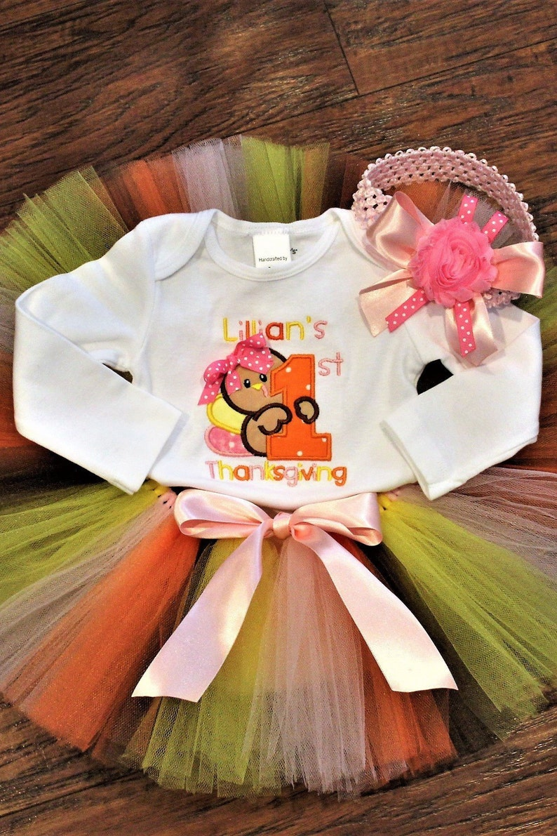 a22c40738 Baby girl first Thanksgiving outfit Personalized 1st | Etsy