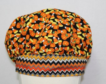 Halloween, scrub cap, scrub caps, nurse, surgical hat, nurse cap, surgical scrub cap, scrub hat, scrub hats, candy corn, orange, black,
