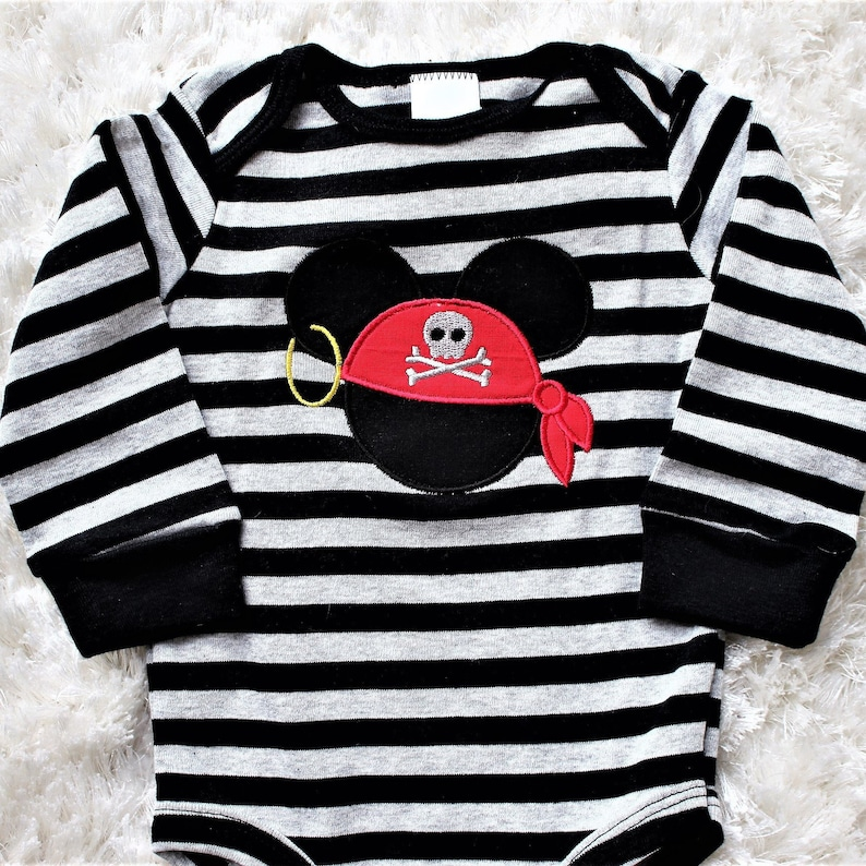 377623477 Baby boy Mickey Mouse bodysuit Mickey Mouse pirate onesie   Etsy