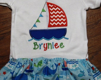 Sailboat, sailboat dress, beach dress, Nautical, personalized, custom, baby girl clothes, beach, anchor, blue, bodysuit with skirt, whale