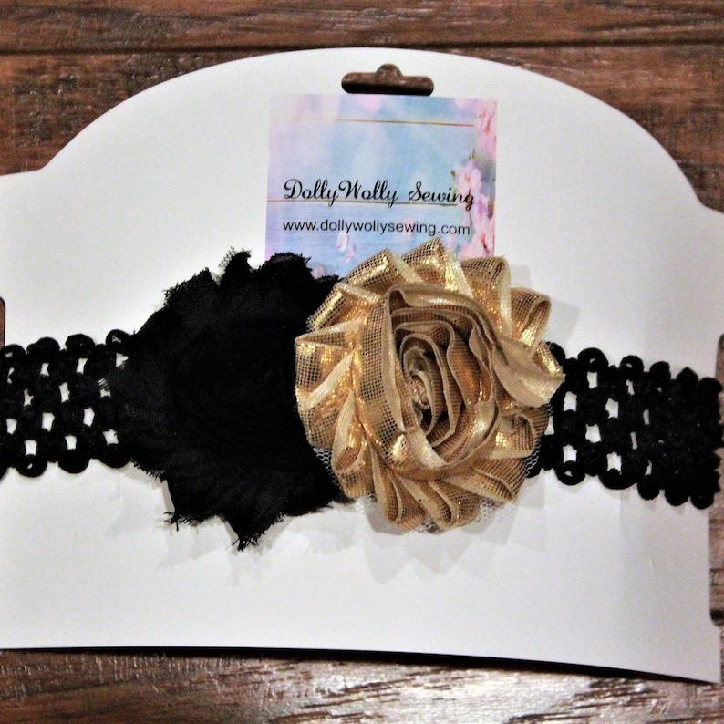 black and gold girls stretch headbands baby girl gift Missouri Tigers girl headband Missouri Tiger baby headband baby shower gift