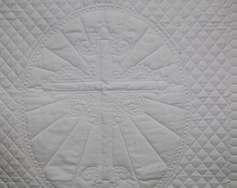 White Satin Christening Blanket with Cross in the center,Religious baby quilt, Baptism quilt for baby, Whole cloth quilt, Handmade  quilt