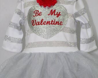 Valentine's Day, baby dress, Valentine dress, silver, red, baby girl clothes, baby girl, baby shower gift, new baby gift, baby girl gift