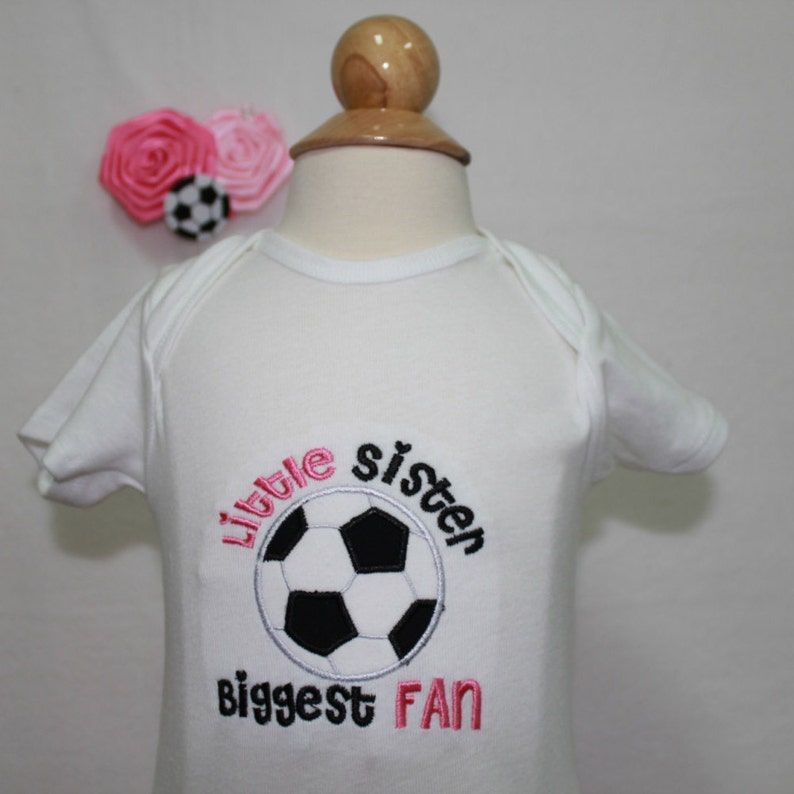 Baby girl soccer bodysuit Soccer hair bow Girl soccer shirt baby girl clothes Soccer shirt for little sister