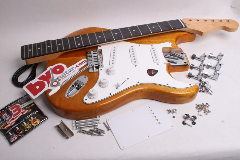 Build Your Own Electric Guitar Kit - Strat Kit - Finished with Wudtone  Goldenrod