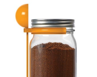Coffee Spoon Clip for Regular and Wide Mouth Mason Jars / Store ground coffee in a Mason jar