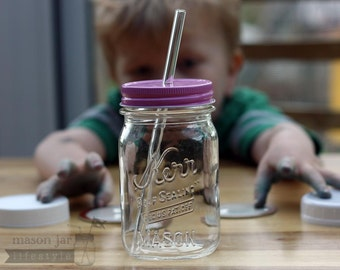 Medium Glass Straws 5-pack * for pint Mason Jars or medium/large glasses * + cleaning brush (choose thin or thick sizes)