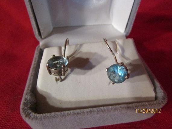 Vintage Aquamarine Blue Colored Piereced Earrings
