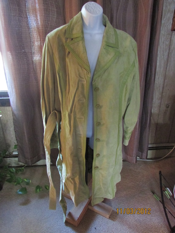 Vintage Green Suede Leather Coat Willi Smith  Size