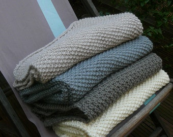 plaid, hand-knitted wool blanket