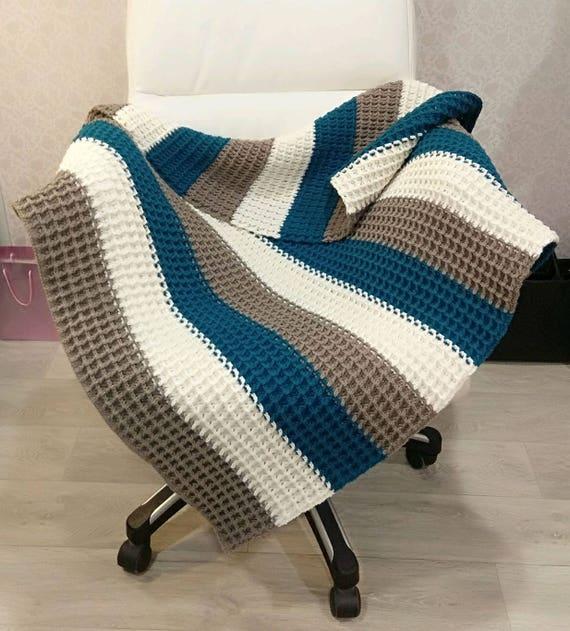Crochet Baby Blanket 37x41 Baby Boy Blanket Etsy