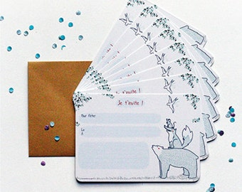 Lot of 8 invitations animals - anniversary - stationery - gift - Illustration