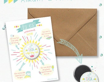 """Card """"mega cool aunt"""" and its magnet - original gift for great aunt"""