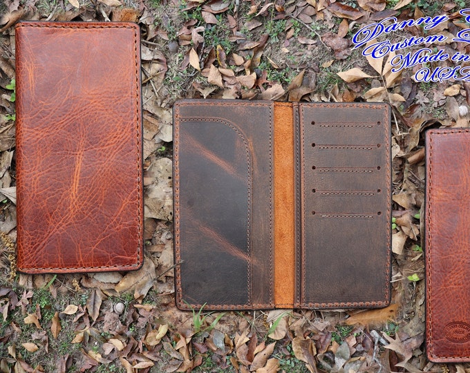 leather Roper Wallet, Checkbook Wallet, Long Wallet, Mens Wallet