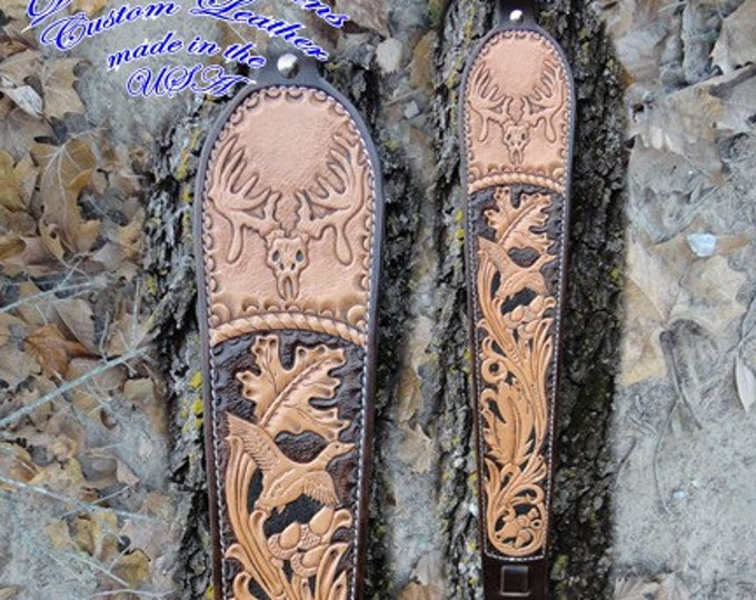 Custom Leather Rifle Sling, Hand Tooled Rifle Sling