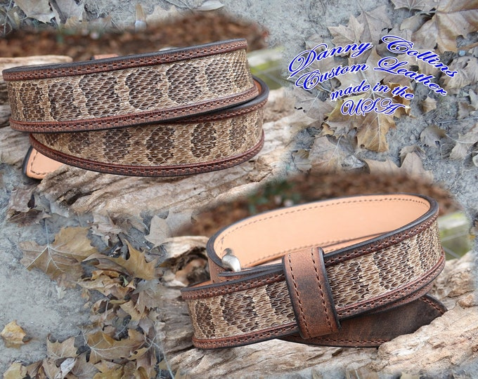 Buffalo Leather Belt With Rattle Inlay, Exotic Leather Belt