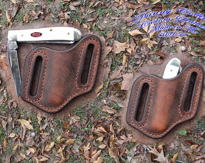 Buffalo leather knife sheath, Pancake style sheath, Case mini trapper knife sheath