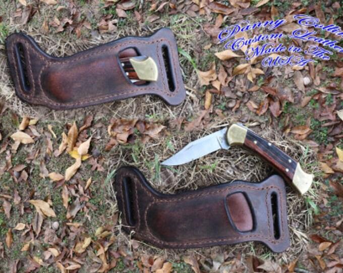 Buck 112 sheath, Buffalo leather Knife Sheath, Horizontal Knife Sheath to fit he Buck 112