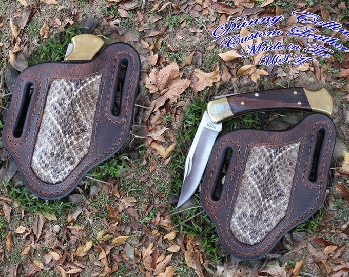 Buffalo and Rattlesnake Knife Sheath, Fits Buck110 And Similar Sized Knives