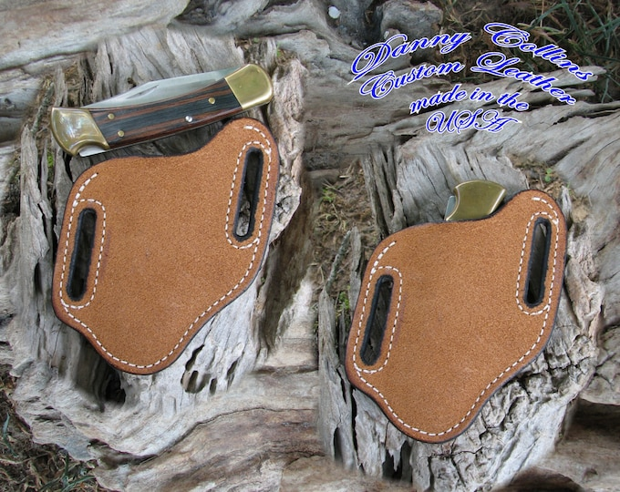 Rough out Buffalo leather knife Sheath,  Buck 110 and Similar Large folding knives