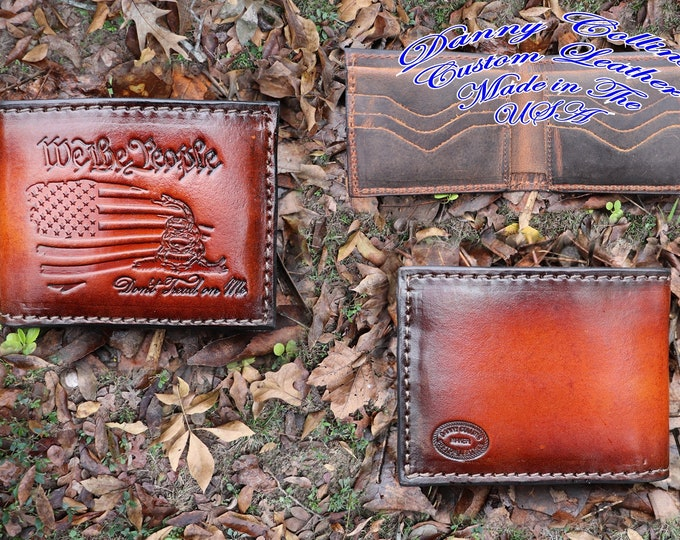 Bi fold wallet, Leather Wallet, Mens Wallet, Dont Tread on Me Wallet