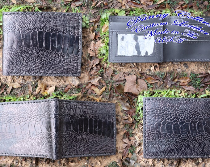 Genuine Ostrich Bi fold wallet / Men's Ostrich wallet/ Black Ostrich Bi fold Wallet