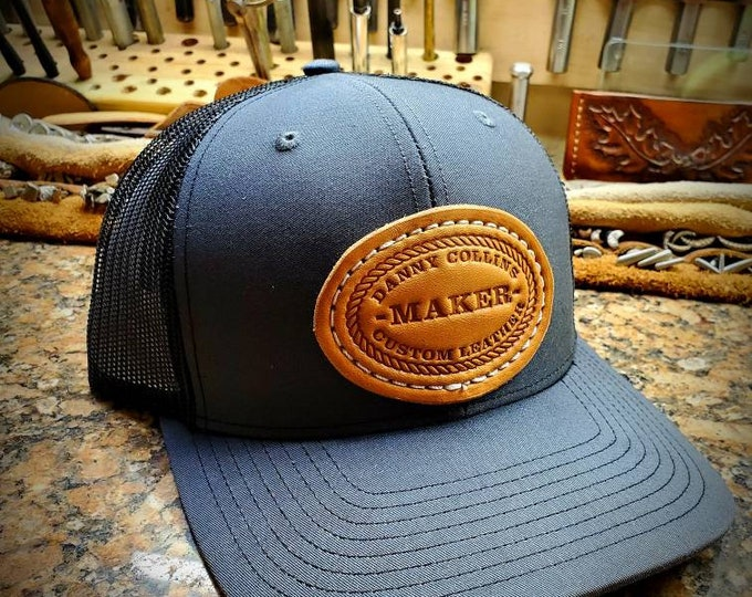 Danny Collins Custom Leather Hat, DCCL Gear,  Baseball Cap,  Snap Back Cap, Hat, Trucker Caps