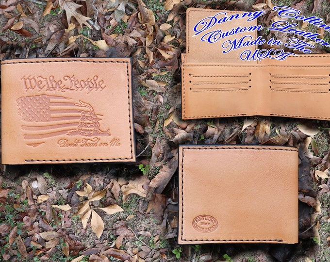 Bi fold wallet, Leather Wallet, Mens Wallet, Bi Fold with ID window, Dont Tread on Me Wallet